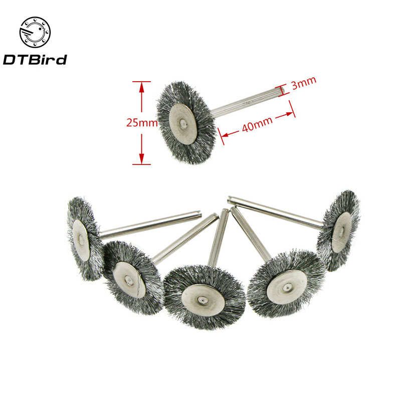 5Pcs Dremel Accessories Stainless Steel Wire 25mm Wheel Diameter Brushes For Grinder Dremel Rotary Tool Accessory Steel
