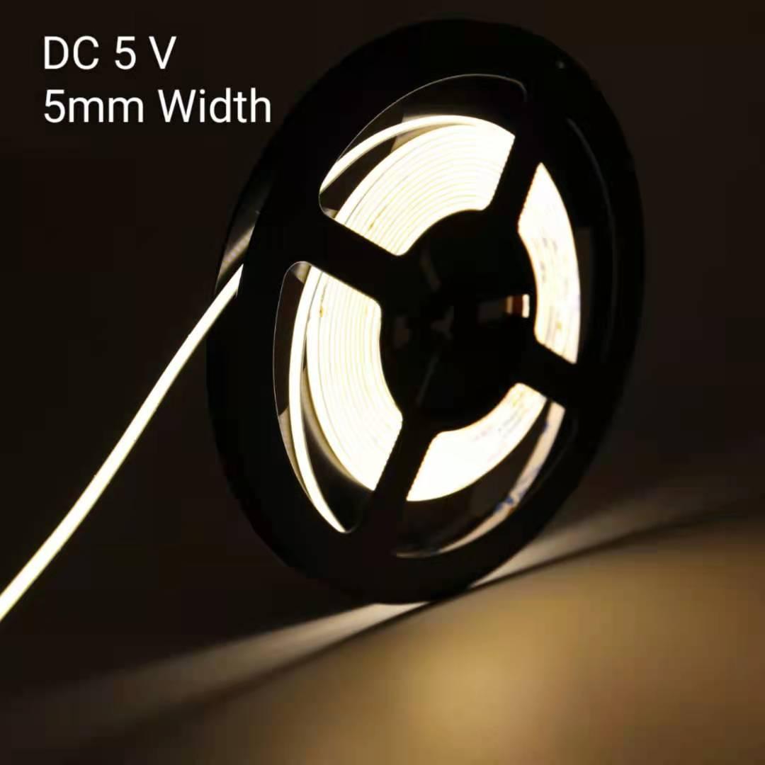 ZZEL ZYEL COB LED Strip DC5V Super Narrow 5MM Width L564MM Light Linear Rope No Spot 180LED/Meter 6W Cold White