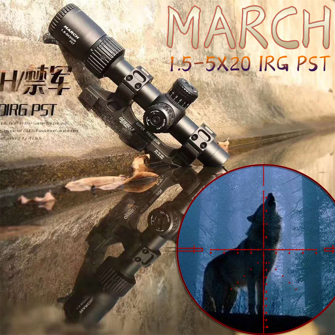 MARCH 1.5-5x20 Tactical RiflesScope sniper hunting Optics sight Rifle scopes airsoftsports tactical 308 military red dot sights