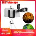 Lente Monocular del telescopio del Zoom 20X con el trípode del Clip del teléfono móvil para el iPhone 6 7 Samsung S8 Android Smartphone