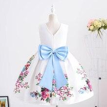 Yoliyolei 3D Print Easter Children's Dresses V-back Fashion 5-9 Years Kids Wear Summer Pretty Bowknot Floral Mid-calf Girl Dress