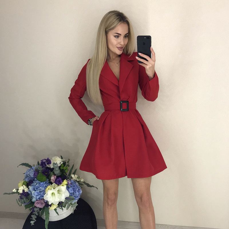 Women Casual Belt V Neck Sexy Party Dress Ladies Long Sleeve Sashes A Line Mini Dress 2019 Solid Autumn Office Work  Formal Dres