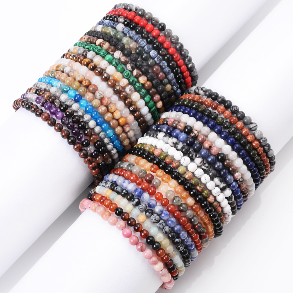 4mm Natural Tiger Eye Agates Aventurine Lapis Lazuli Stone Bracelet for Men Reiki Yoga Beads Bracelet for Women Charm Jewelry