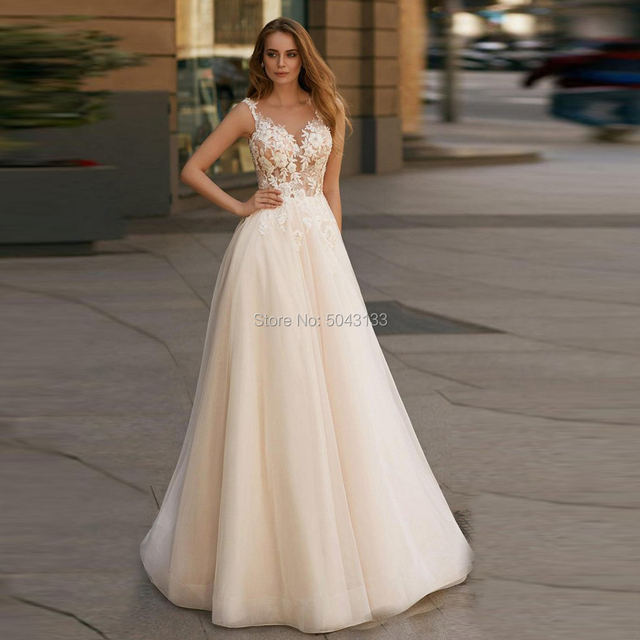 Elegant Champagne Wedding Dresses Boho 2020 A Line Illusion V Neck Applique Flowers Sleeveless Floor Length Tulle Bridal Gowns