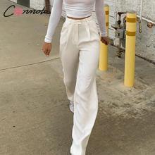 Conmotoขากว้างฤดูใบไม้ร่วง 2019 กางเกงฤดูหนาวผู้หญิงแฟชั่นVintageกางเกงสวมใส่Causalสีขาวสูงเอวกางเกงยาว