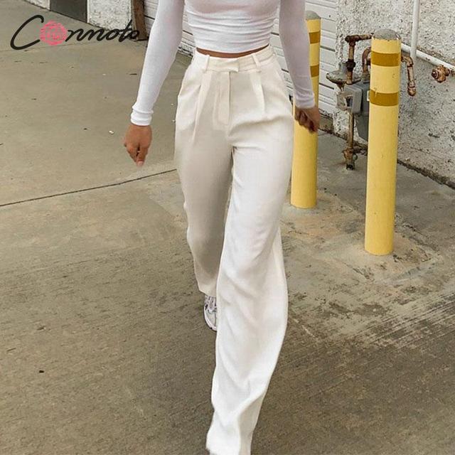 Conmoto pantalon à jambes larges pour femmes, style vintage, style décontracté, taille haute, long, automne 2019