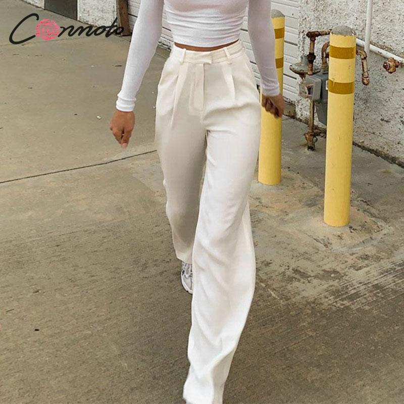 Conmoto Wide Leg Fall 2019 Winter Pants Women High Fashion Vintage Pants Street Wear Causal Whtie High Waist Long Trousers