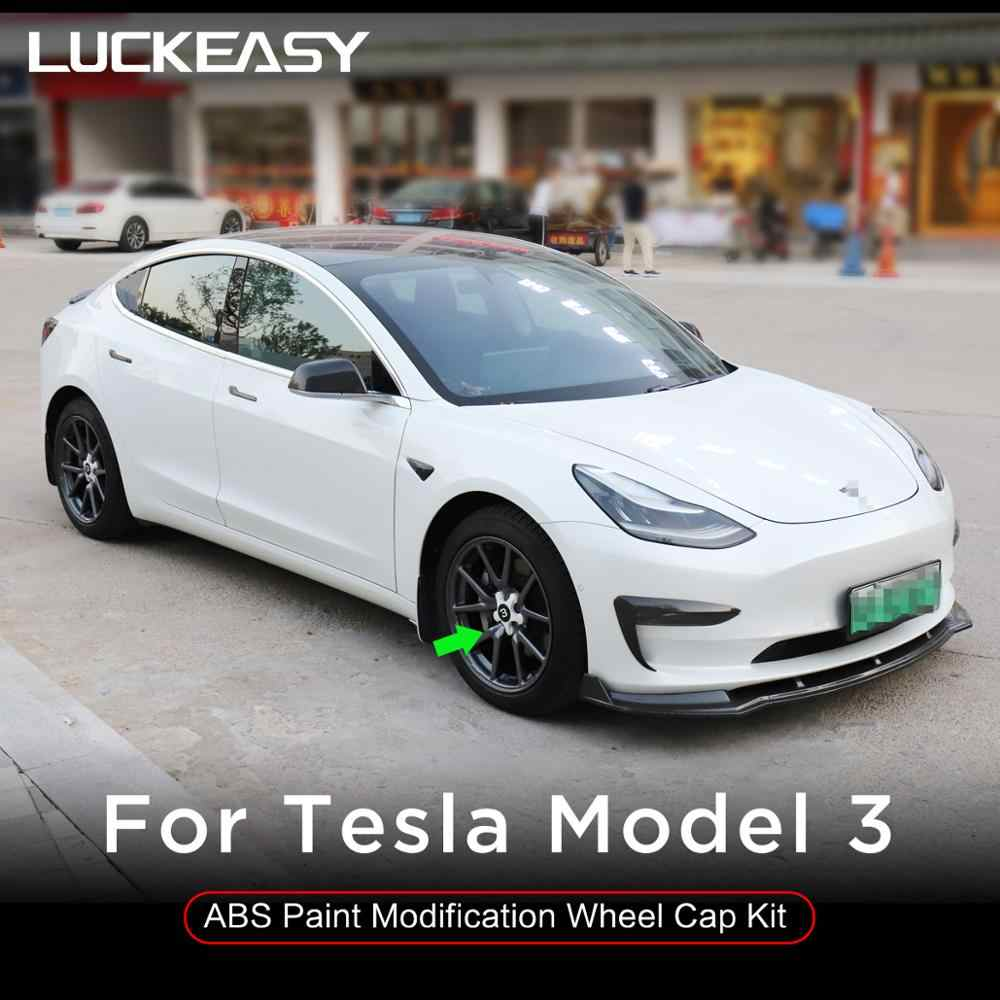 CF3W LUCKEASY hub Cover Modification kit for Tesla Model 3 car 20 inch Wheel P Version ABS Paint Modification Wheel Cap Kit 4pcs//Set