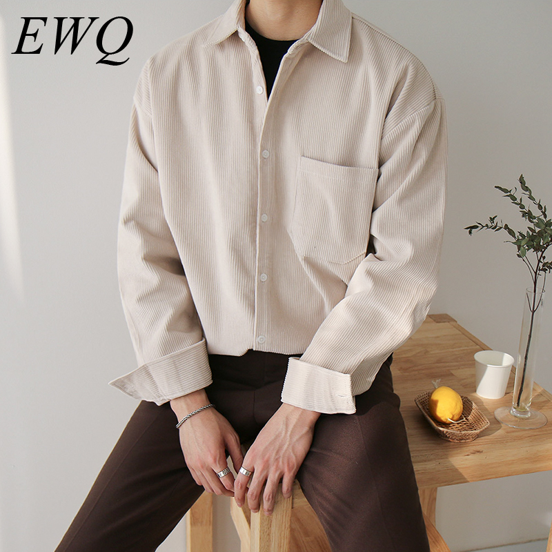 EWQ / Men's Wear 2020 Spring New Loose Corduroy Shirt Korean Style Trend Casual Handsome Oversize Tops Vintage Clothes 9Y892