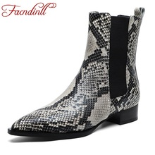 FACNDINLL women boots snake print ankle boots sexy med heels pointed toe ladies shoes woman 2019 new chelsea riding boots black new autumn boots genuine leather women ankle boots thick heels fashion pointed toe riding boots sexy woman black vintage boots