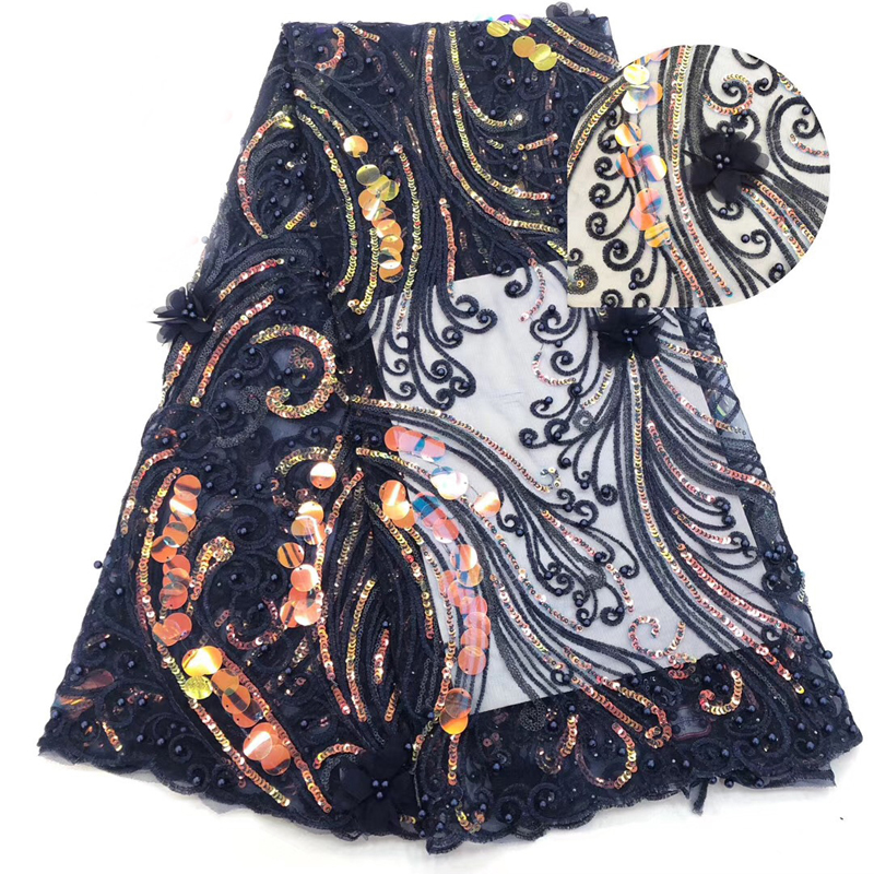 2020 New Arrival African Lace Fabric Swiss Voile Lace With Big Sequins Embroidered 3D Flower Fabric For Nigeria Evening Dress