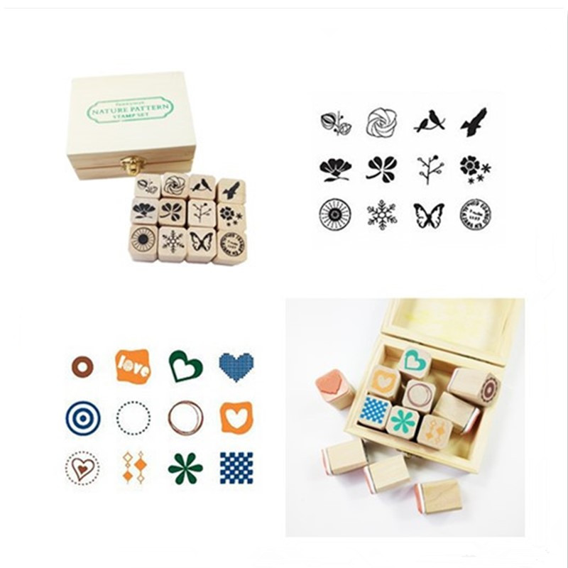 12Pcs/set Nature And Simple Pattern Diary Craft Card Stamps Wooden Rubber Scrapbooking DIY Decorative