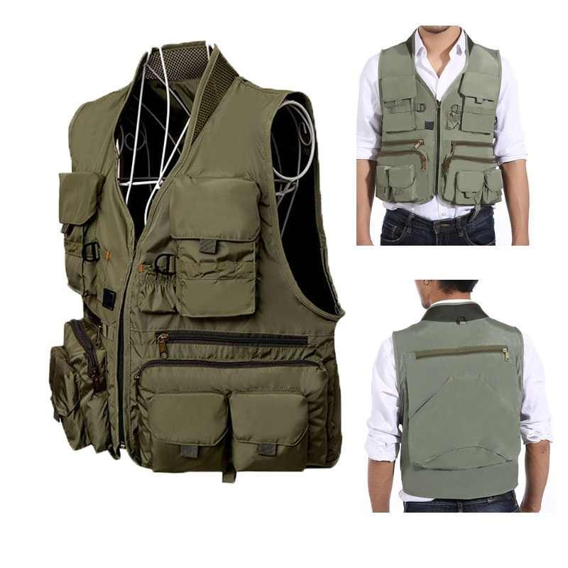 Outdoor Waterproof Fishing Vest Hiking Hunting Multi Pocket Vest Waistcoat Men Fishing Jackets Photography vest