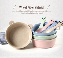 Child Bowl Spoon Set Panda Rabbit Rice Insulation Anti-scalding Soup Natural Wheat Straw Fiber Snack Plate Tableware