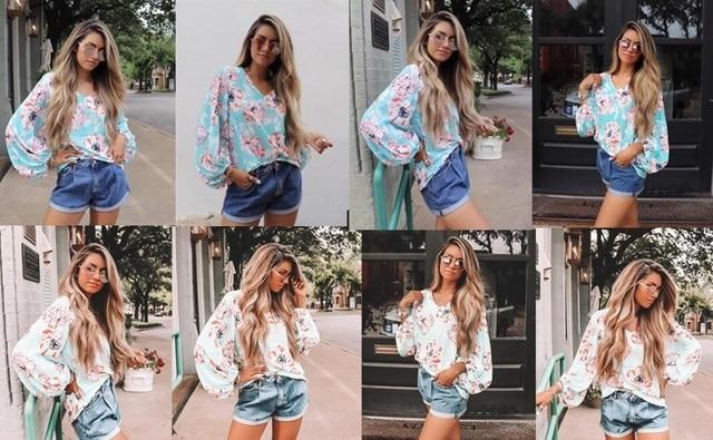FORUDESIGNS Leopard With Flower Design Women's Fashion V Neck Blusas Ladies Loose  Lantern Sleeve Elegant Tops for Office Girls 5