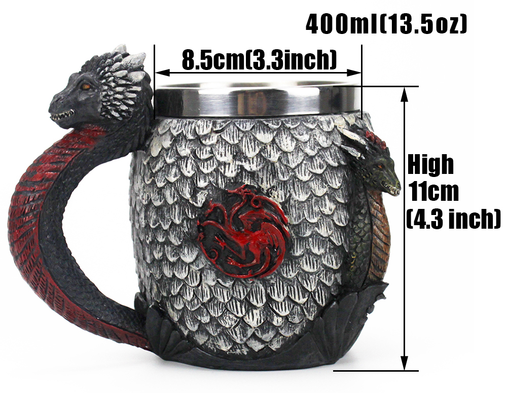Game of Thrones Mug House Targaryen Blood and Fire Stainless Dragon Steel Resin Beer Tankard Coffee Cup Mugs 400ml