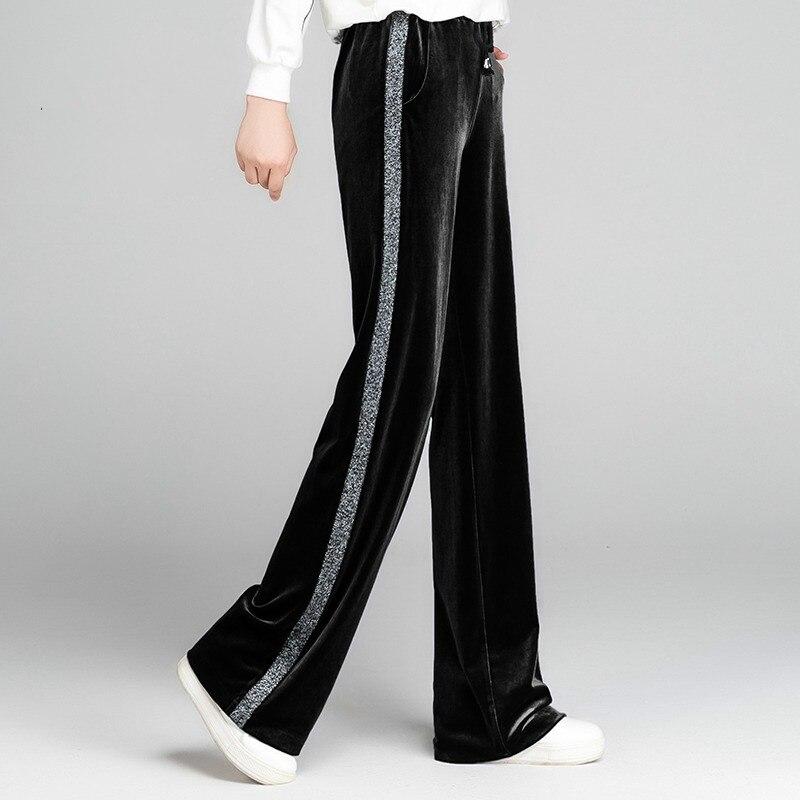 Black Velvet Wide-leg   Trousers   Casual  High Elastic Waist Velvet  Women  Pants Fashion Wide Pants  Loose Long  Pant