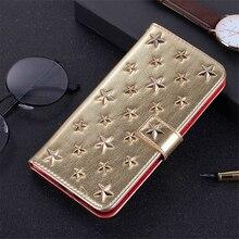 Capa luxuosa de couro feita à mão, para iphone xs 11 pro max xr x 8 7 plus, diy, estrelas, rebite, cartão capa de livro de flip suporte hoesje