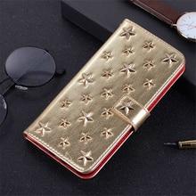 Lüks el yapımı deri kılıf Iphone Xs için 11 Pro Max Xr X 8 7 artı Diy yıldız perçin cüzdan kart tutucu kapak kitap kapağı Hoesje