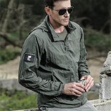 Nowy 2020 lato wodoodporna Quick Dry Tactical kurtka męski płaszcz przeciwdeszczowy z kapturem cienka wiatrówka ochrony przeciwsłonecznej kurtka wojskowa tanie tanio Asstseries CN (pochodzenie) zipper Kurtki płaszcze Sunscreen jacket REGULAR Cienkie Poliester Szczupła Kamuflaż Kieszenie