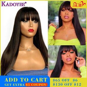 """Image 1 - Kadoyee frente do laço perucas de cabelo humano brasileiro remy cabelo 13x4 """"despedida peruca reta com franja 8"""" 26 """"preplucked 130% 150% densidade"""