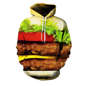 Burger Hoodie Hamburger 3D Print Sweatshirts Men Hip HOP Hoodies Outfits Coats Fashion Clothing Sweats Tops For Unisex 1