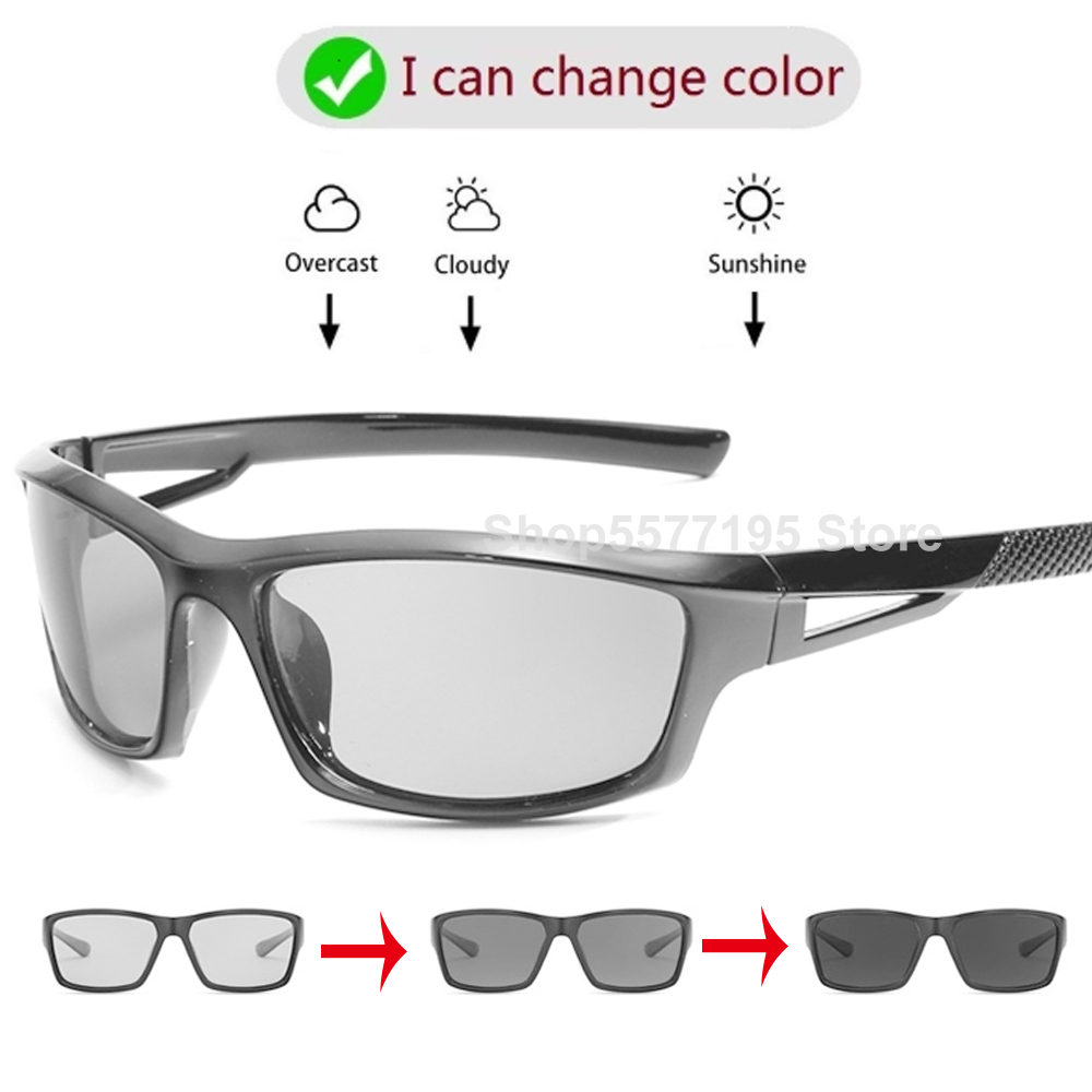 2020 Classic Photochromic Sun Glasses Men Polarized Sunglasses Goggles Chameleon Square Day Night Driving Glasses Gafas de