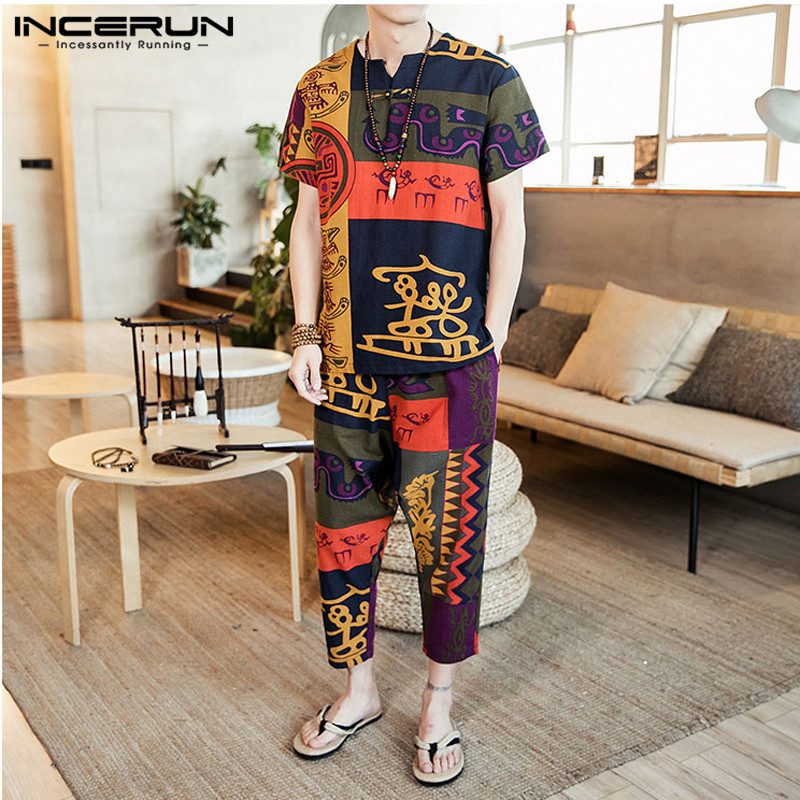 INCERUN Men Sets Vintage Ethnic Printed Retro Short Sleeve T Shirt Casual Pants Loose Streetwear Men Clothes 2 Pieces Plus Size
