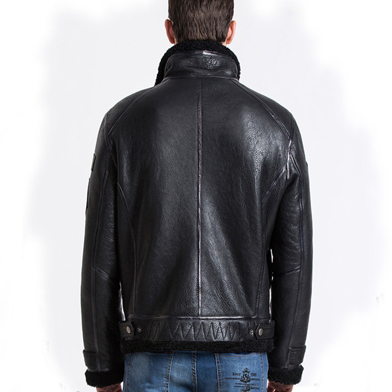 Men 39 s Flying Jacket Original Ecology Sheep Fur Leather Thicked Lapel Fur Coat Sheepskin Reinforced Flight Suit Motorcycle Jacket in Genuine Leather Coats from Men 39 s Clothing