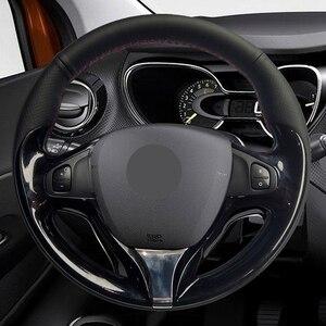 Image 2 - יד תפור שחור PU דמוי עור רכב הגה כיסוי עבור רנו קליאו 4 2012 2016 Captur רנו סמסונג QM3 2013