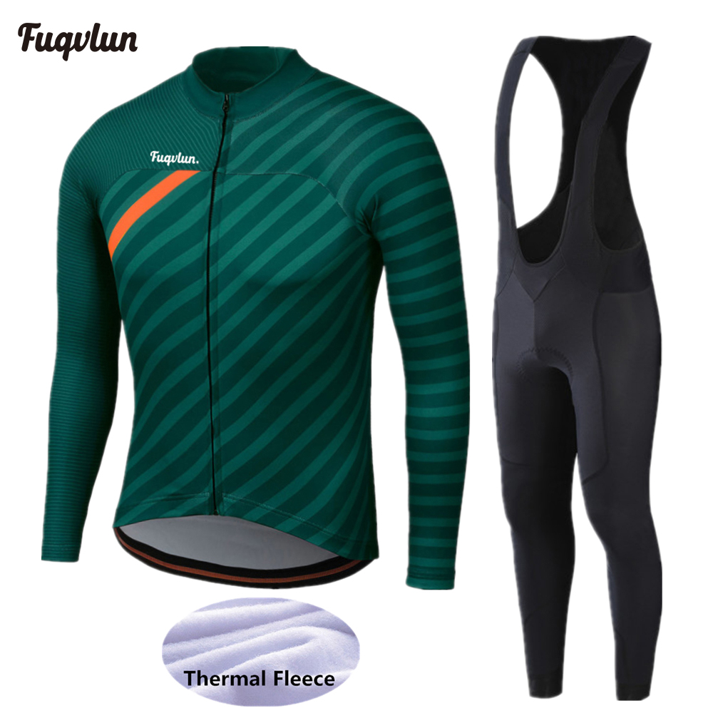 2020 FUQVLUN Winter Cycling Jersey Set MTB Bicycle Clothing Ropa Ciclismo Thermal Fleece Bike Clothes Mens Long Cycling Wear 292