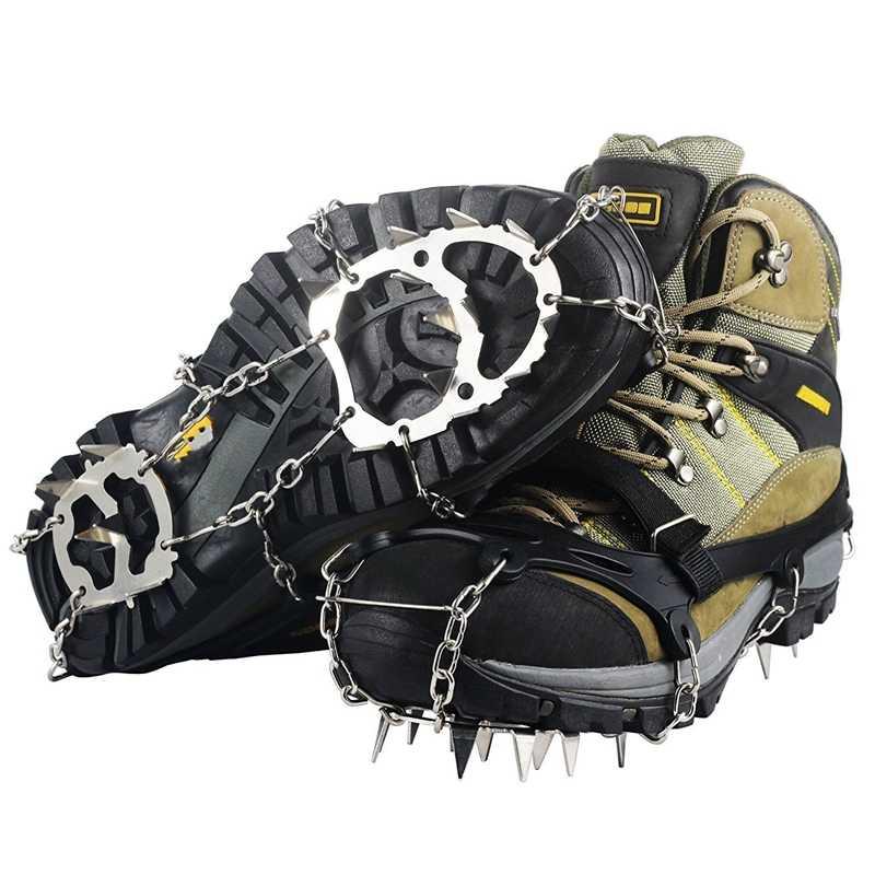 Ледяные снежные ручки анти скольжения обувь кошки 18 зубов из нержавеющей стали шипы для зимней ходьбы Пешие прогулки скалолазание бег
