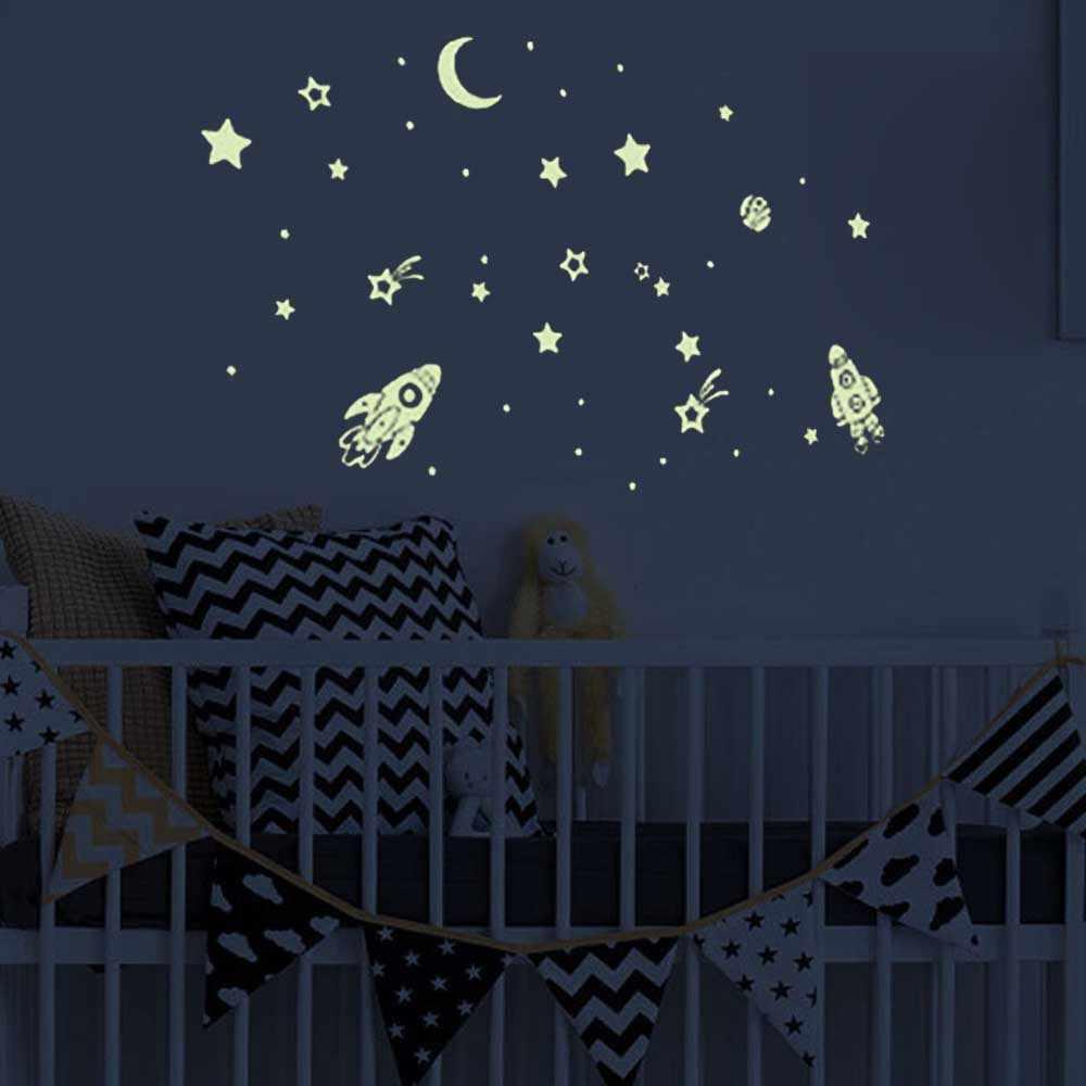 2 Lembar Bersinar Dalam Gelap Planet Bintang Bulan Stiker Stiker Dinding Langit-langit Bercahaya Dekorasi untuk Anak-anak Anak Gadis kamar