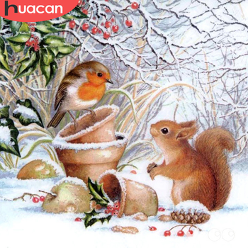 HUACAN 5D Diamond Painting Squirrel Animal Embroidery Cross Stitch Bird New Arrival Mosaic Home Decor