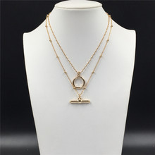 2020 New Trendy Gold Color Plating T Bar O Bar Pendant Layered Necklace For Women Girl Chic Feminist Unique Jewelry Accessory trendy cut out bar noctilucent necklace for women