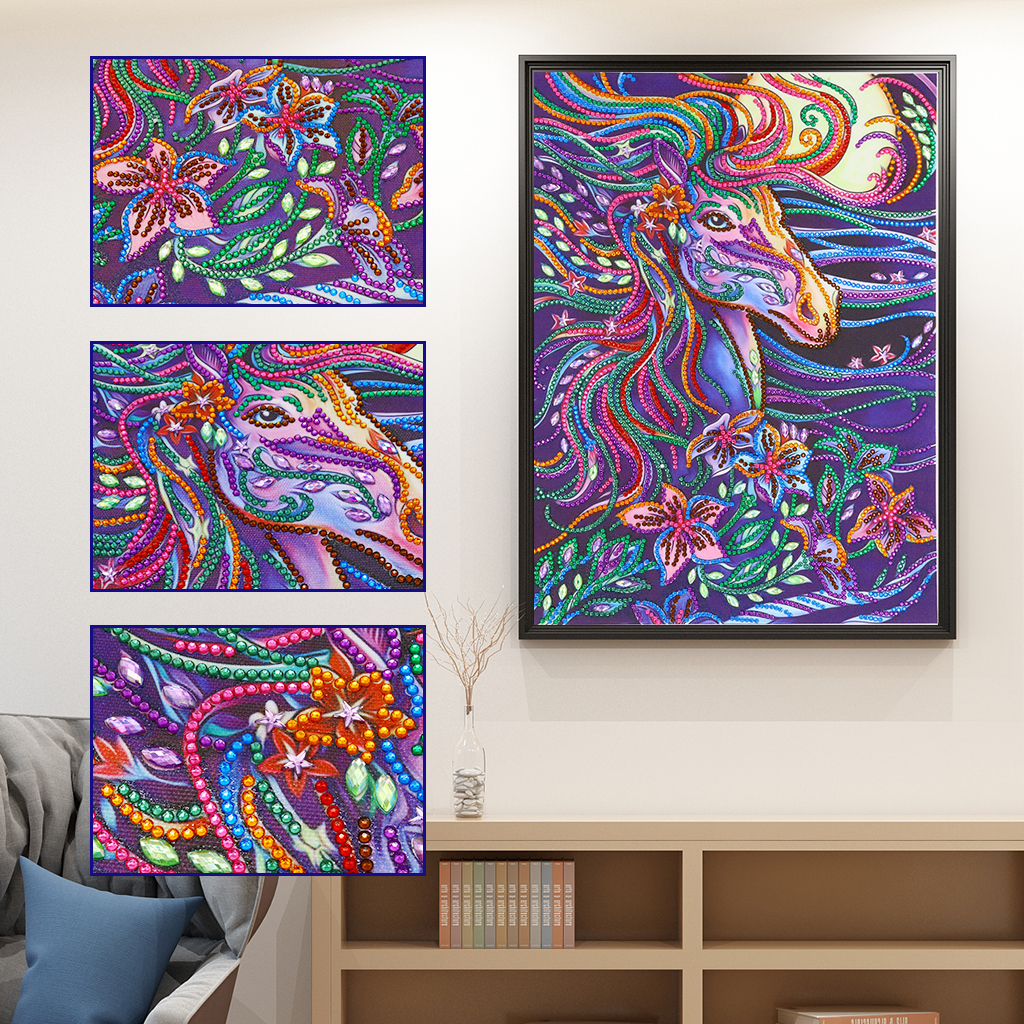 5D Special Shaped Diamond Painting Horse Picture Partial Drilled Diamond Embroidery Cross Stitch Kits Needlework Home Decor Gift