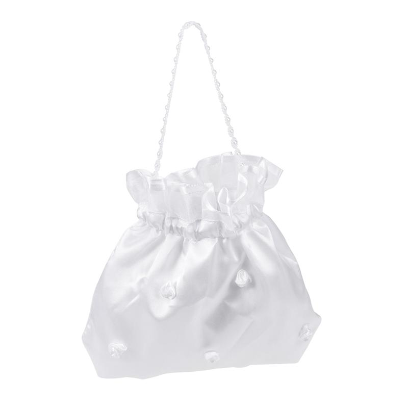 White Bridal Bridesmaid Satin Flower Decorated Dolly Bag Handbag (Flower Pearl)