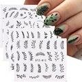 4 шт. наклейки для дизайна ногтей, черные цветы в виде листьев, летние наклейки для ногтей, набор ползунков, обертывания, тату дизайн, Декорац...