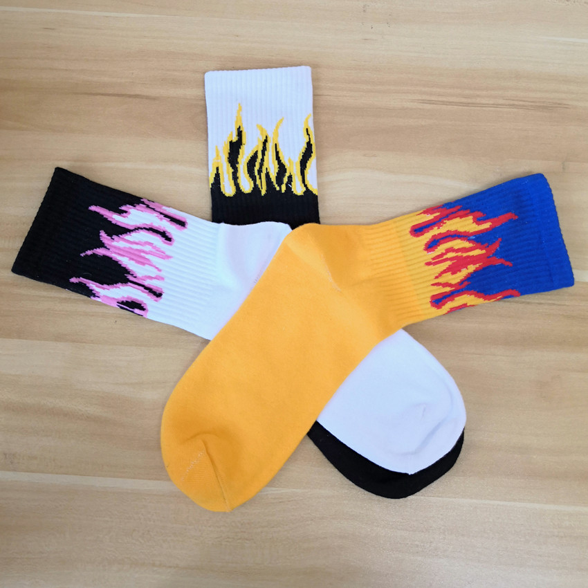 Men Fashion Novelty Hip Hop Hit Color On Fire Crew Socks Red Flame Blaze Power Torch Hot Warmth Street Skateboard Cotton Socks