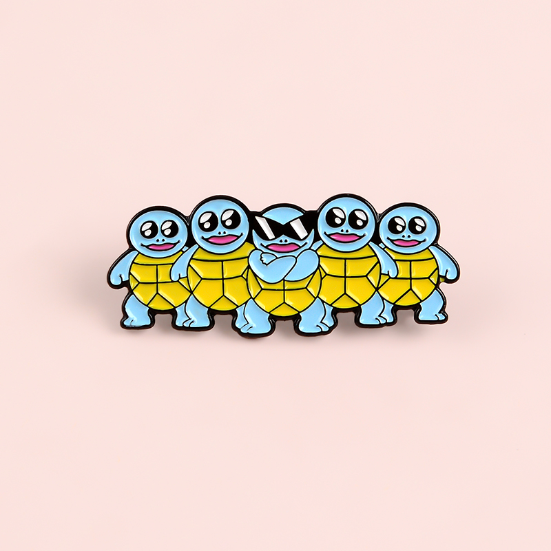 Blue Tortoise Enamel Pins Custom Cool Sunglasses Turtle Brooch Lapel Pin Bag Badge Childhood Animal Jewelry Gift Kids Friends 6