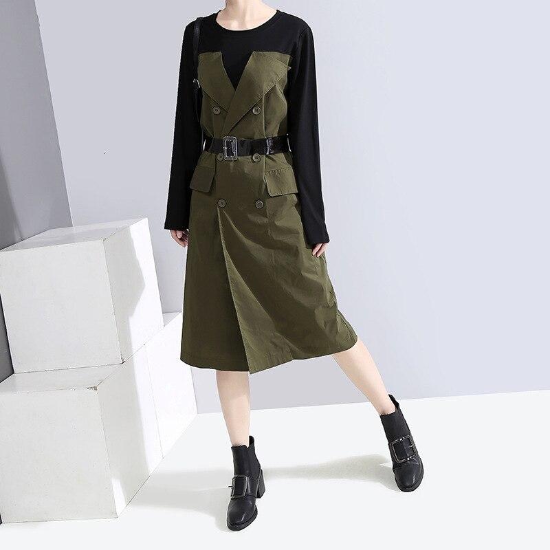 MEVGOHOT femmes épais Patchwork automne robe avec ceinture bureau dames à manches longues boutons poches faux deux pièces robe HD1377