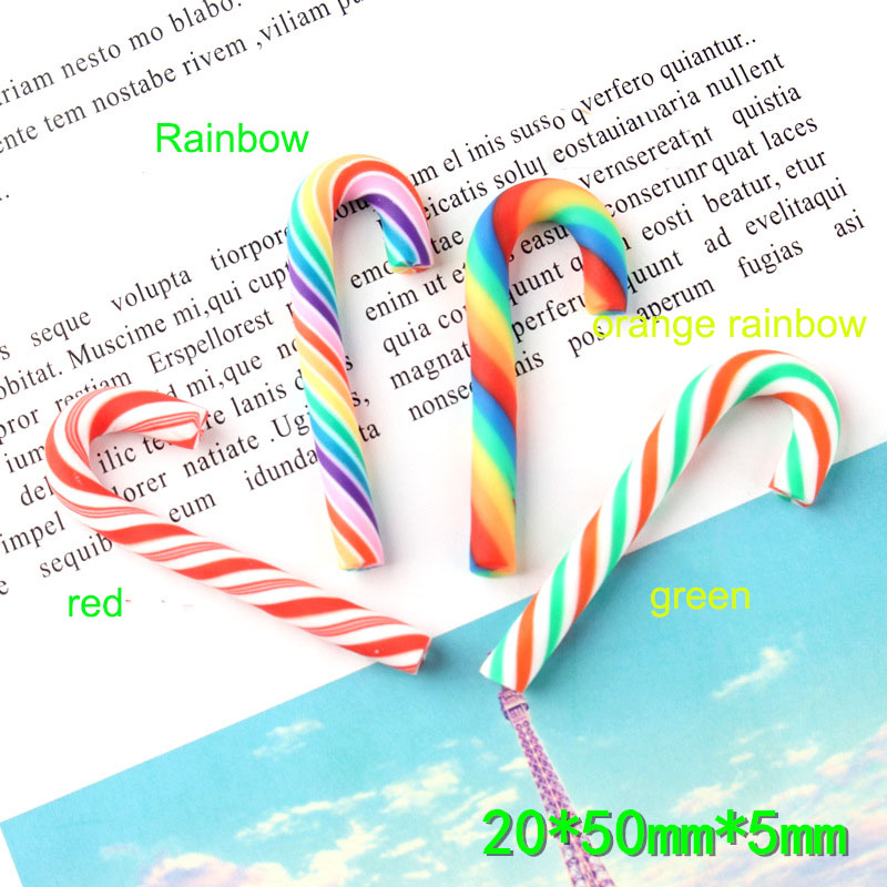 10Pcs 20*50mm Rainbow Stripes Clay Cane Candy Christmas Party Decoration Flat Back Cabochons Scrapbooking DIY Crafts
