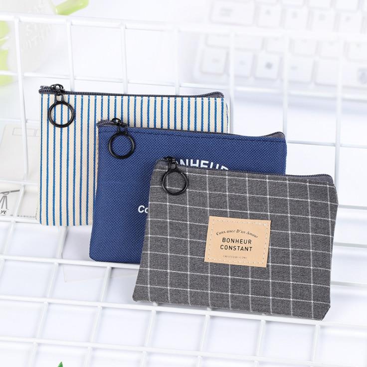 Cute Su Feng Canvas Bag Wallet Zipper Simple Coin Pocket Coin Purse Women's Fabric Mini Storgage Bag