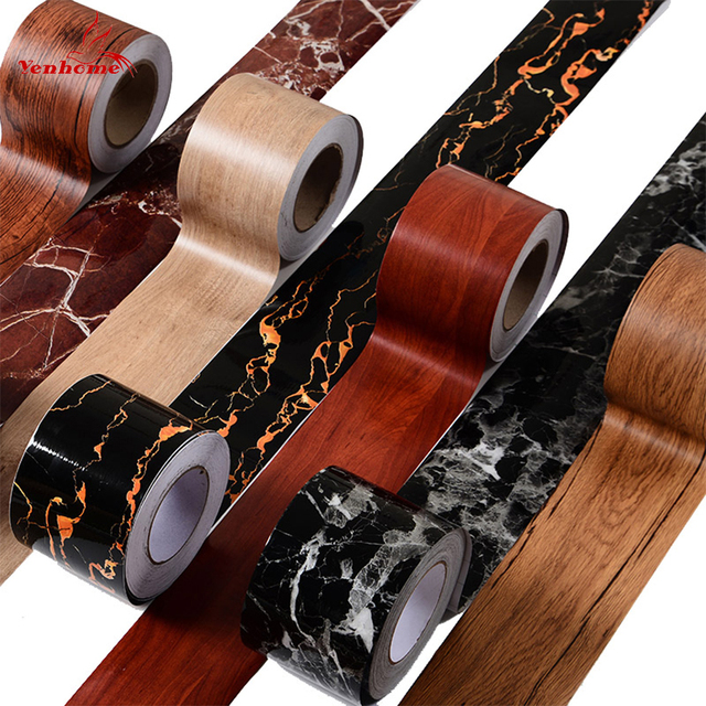 Wood Style Self-adhesive Wall Floor Sticker for Bathroom Skirting Line Decal Waterproof Vinyl Waist Line Wallpaper Home Decor 3