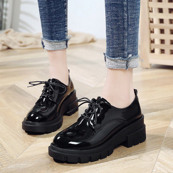 COOTELILI Spring Autumn Leather Shoes Womens Flat Lace up Ladies Casual Shoes Women Loafers Flats 6cm Heel Fashion Shoes flat shoes women rivet flats fashion slip on casual shoes spring autumn comfortable loafers sneaker
