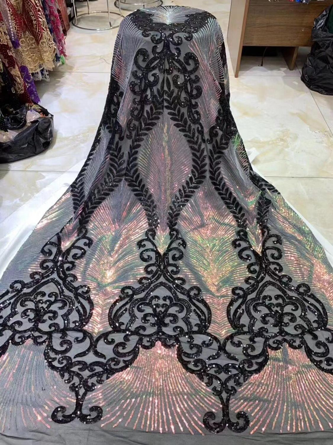 Free shipping african lace fabric high quality french guipure lace fabric new arrival sequins lace fabric for party white-in Lace from Home & Garden    2