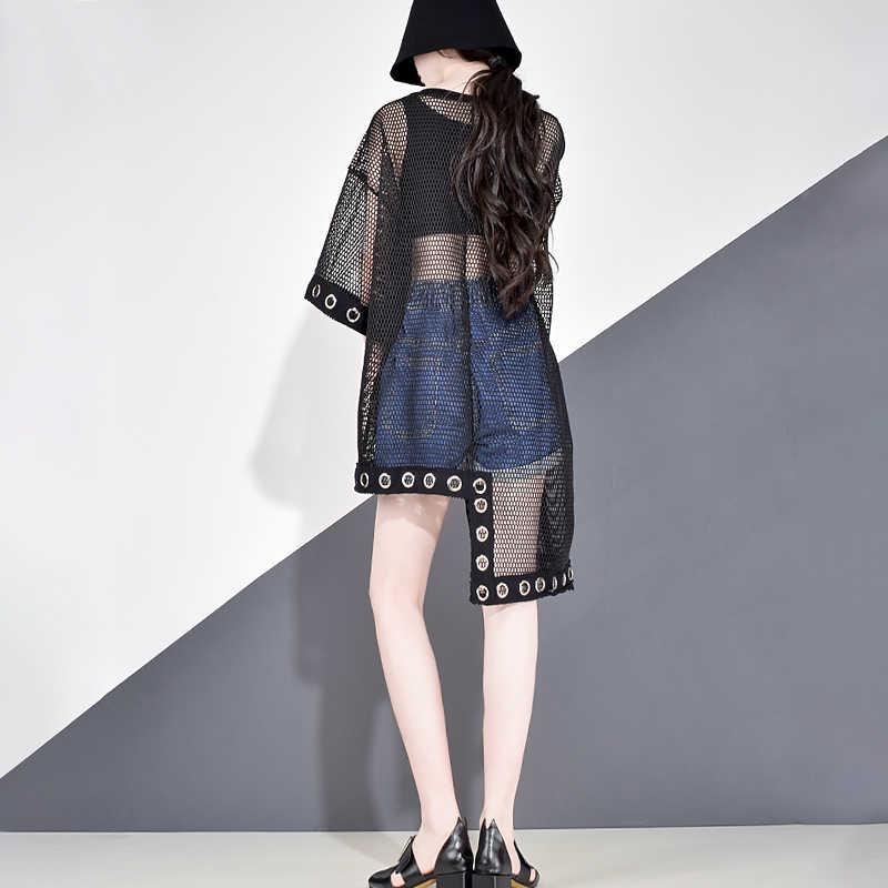 XITAO évider épissure grille femmes t-shirt été grande taille Streetwear Style coréen vêtements imprimer lettre noir Net hauts WBB3401