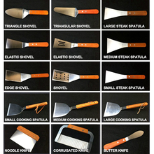 Shovel Cooking-Spatula-Tool-Sets Wooden-Handle Barbecue-Skewers Steak Bbq Roasting Stainless-Steel