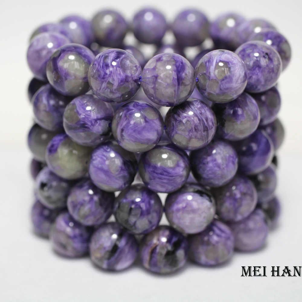 Meihan (14 cuentas/juego) natural A + 14mm charoita rusa suave piedras preciosas redondas para hacer joyas o regalo