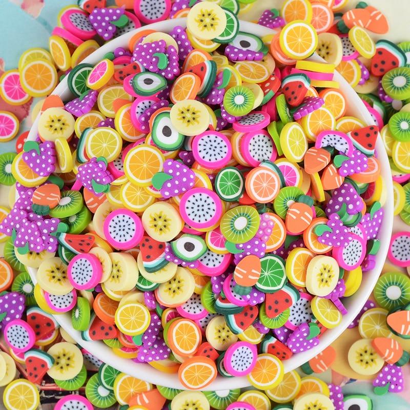 200Pcs Slime Soft Pottery Fruit Slices DIY Nail Art Supplies Phone Case Decoration Accessories For Children Toys